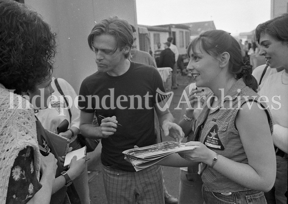 Bryan Adams signs autographs after the concert at The Point Depot, Dublin, 22/07/1996 (Part of the Indeopendent Newspapers Ireland/NLI Collection).