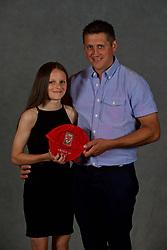 NEWPORT, WALES - Saturday, May 19, 2018: Libby Isaac and family during the Football Association of Wales Under-16's Caps Presentation at the Celtic Manor Resort. (Pic by David Rawcliffe/Propaganda)