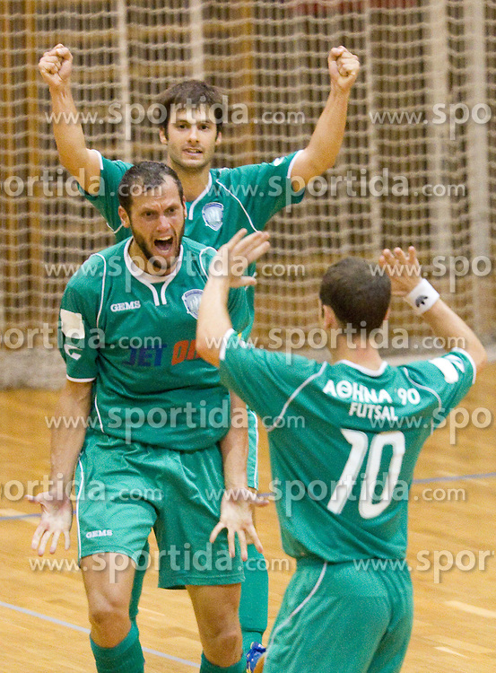 Ilias Bousmpouras of Athina celebrate during futsal match between FC Litija and Athina '90 in Main Round of Group I of UEFA Futsal Cup, on September 29, 2011, in Sports hall, Litija, Slovenia.  (Photo by Vid Ponikvar / Sportida)