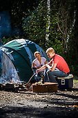 Young Couple Camping - Stock Photography
