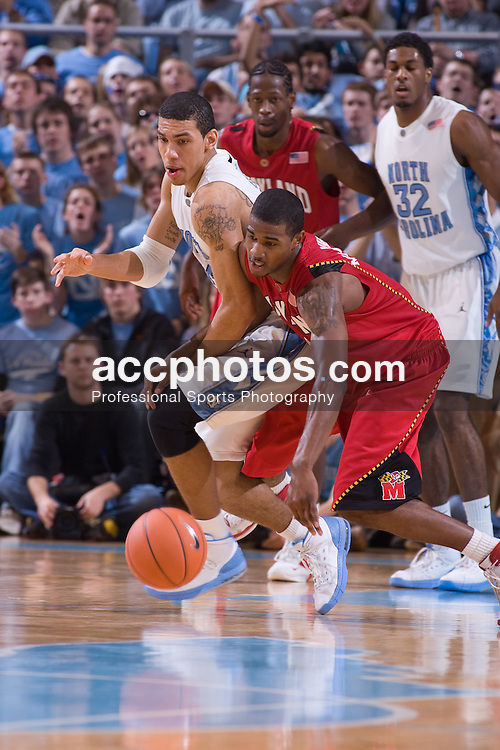 19 January 2008: Maryland Terrapins guard (24) Cliff Tucker and North Carolina forward Danny Green (14) during a 93-84 win over the North Carolina Tar Heels at the Dean Smith Center in Chapel Hill, NC.