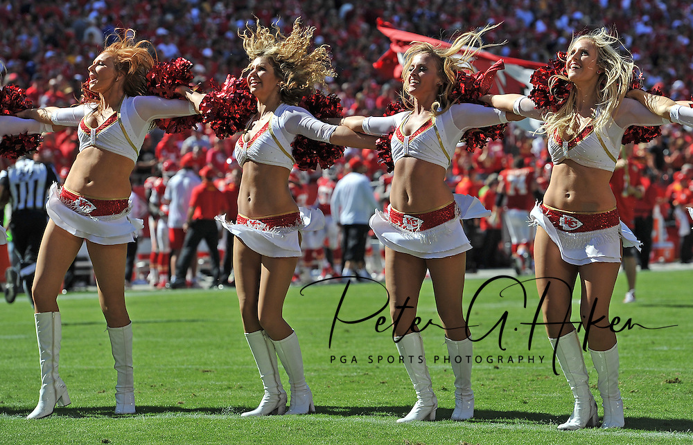 KANSAS CITY, MO - SEPTEMBER 29:  Kansas City Chiefs cheerleaders perform during a game against the New York Giants on September 29, 2013 at Arrowhead Stadium in Kansas City, Missouri.  (Photo by Peter G. Aiken/Getty Images) *** Local Caption ***