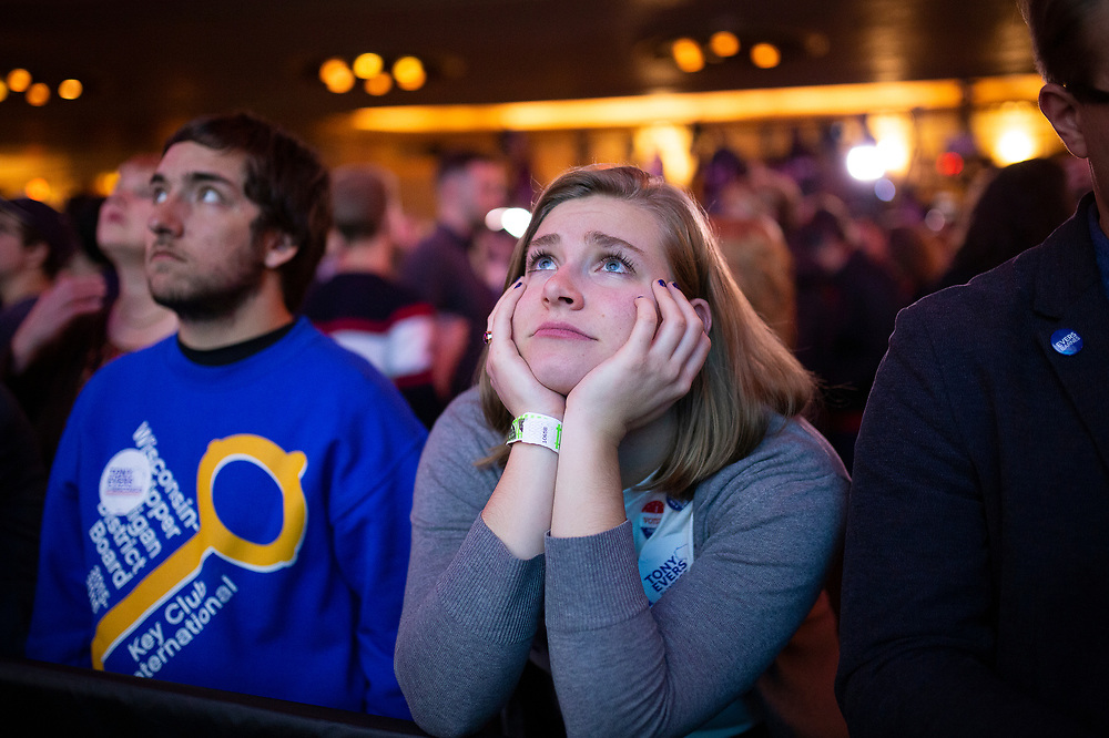 The Tony Evers Election Night watch party at the Orpheum Theater in Madison, Wisconsin, Wednesday, Nov. 7, 2018.