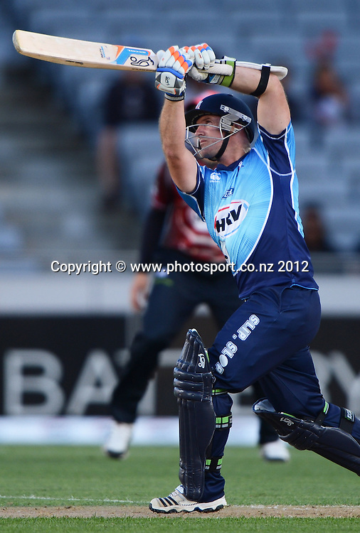 Gareth Hopkins batting during the HRV Cup Twenty20 Cricket match between Auckland Aces and Canterbury Wizards at Eden Park on Friday 21 December 2012. Photo: Andrew Cornaga/Photosport.co.nz