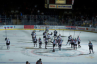 KELOWNA, CANADA - NOVEMBER 11: The Kelowna Rockets salute the fans and celebrate the win against the Red Deer Rebels on November 11, 2017 at Prospera Place in Kelowna, British Columbia, Canada.  (Photo by Marissa Baecker/Shoot the Breeze)  *** Local Caption ***