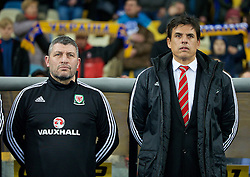KIEV, UKRAINE - Easter Monday, March 28, 2016: Wales' manager Chris Coleman [R] and assistant manager Osian Roberts [L] before the International Friendly match against Ukraine at the NSK Olimpiyskyi Stadium. (Pic by David Rawcliffe/Propaganda)