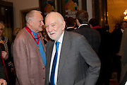 SIR NICHOLAS GRIMSHAW; SIR ANTONY CARO, Opening of David Hockney ' A Bigger Picture' Royal Academy. Piccadilly. London. 17 January 2012