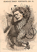 Anton Rubenstein (1829-1894) Russian pianist, composer and conductor, founder of the St Petersburg Conservatoire. In the 1881 London concert season he earned in the region of £10,000.  One of his compositions was an opera 'Demon' (1875).   Cartoon by Edward Linley Sambourne in the Punch's Fancy Portraits series from 'Punch' (London, 23 July 1881).