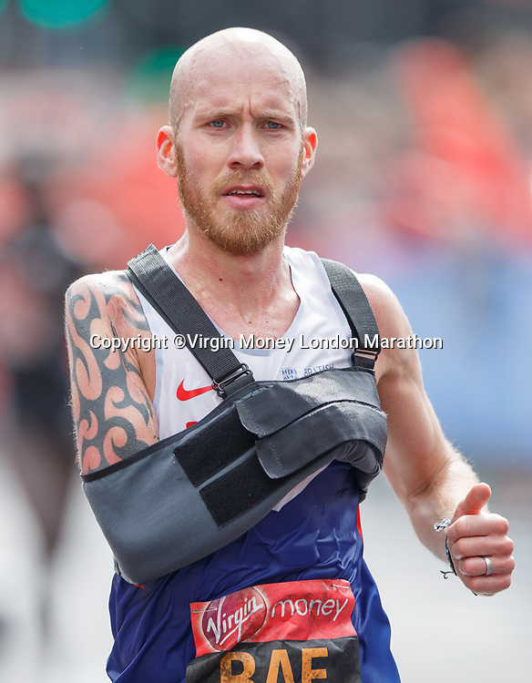 Derek Rae during his World Para Athletics Marathon World Cup 2017. The Virgin Money London Marathon, 23rd April 2017.<br /> <br /> Photo: Ben Queenborough for Virgin Money London Marathon<br /> <br /> For further information: media@londonmarathonevents.co.uk