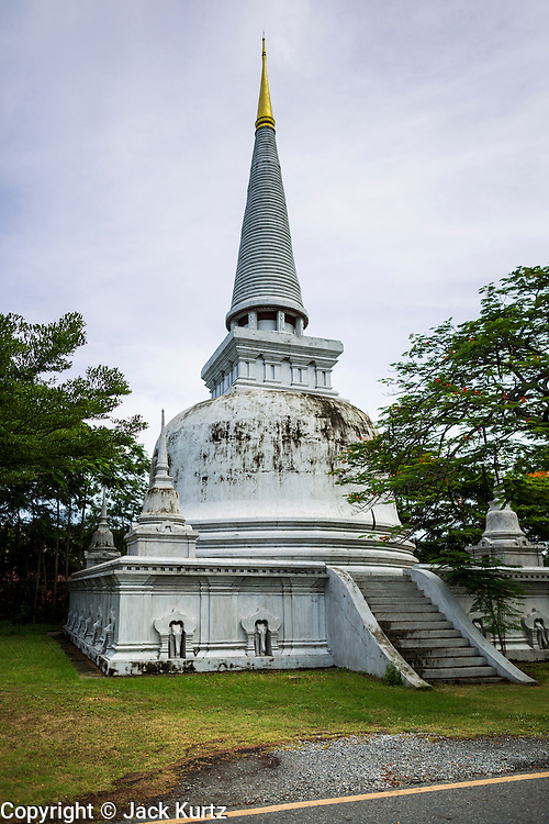 16 JULY 2014 - SAMUT PRAKAN, SAMUT PRAKAN, THAILAND: A replica of the Stupa of Phra Maha That in Nakhon Si Thammarat at Ancient Siam. The original was built approximately 555AD. Ancient Siam is a historic park about 200 acres (81 hectares) in size in the city of Samut Prakan, province of Samut Prakan, about 90 minutes from Bangkok. It features historic recreations of important Thai landmarks and is shaped roughly like the country of Thailand.      PHOTO BY JACK KURTZ