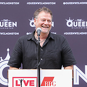 Michael Grozier, executive vice president of Live Nation's clubs and theaters addresses the audience during the changing of the guard as live nation takes over The Queen Theater Wednesday, June 14, 2017 on Market Street in downtown Wilmington Delaware.