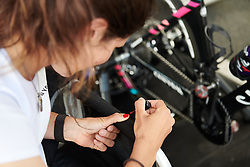 Elena Cecchini (ITA) paints her nails during the long wait for her start time at Emakumeen Bira 2018 - Stage 2, a 26.6 km time trial from Agurain to Gasteiz, Spain on May 20, 2018. Photo by Sean Robinson/Velofocus.com