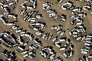 Patterns of motorhomes parked on public BLM areas in Quartzsite.<br /> January 2008.<br /> &copy; Etienne de Malglaive
