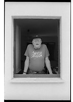 Murray Sayle, Australian journalist, photographed in 1992 in Italy. Tri-X