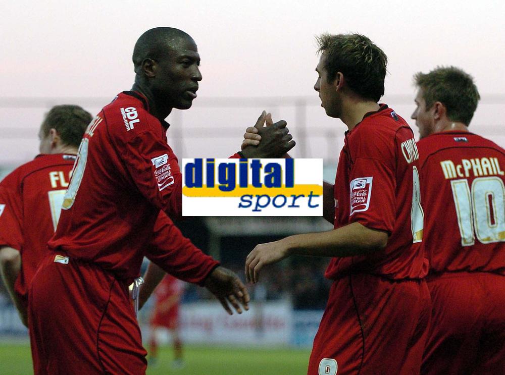 Photo: Ashley Pickering.<br /> Norwich City v Cardiff City. Coca Cola Championship. 21/10/2006.<br /> michael chopra celebrates scoring cardiff's only goal
