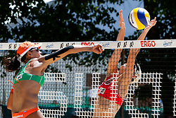 Larissa Franca of Brazil vs Andreja Vodeb of Slovenia at A1 Beach Volleyball Grand Slam presented by ERGO tournament of Swatch FIVB World Tour 2012, on July 18, 2012 in Klagenfurt, Austria. (Photo by Matic Klansek Velej / Sportida)
