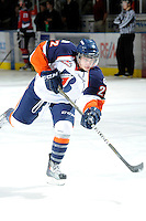 KELOWNA, CANADA, OCTOBER 29: JT Barnett #22 of the Kamloops Blazers warms up as the Kamloops Blazers visit the Kelowna Rockets  on October 29, 2011 at Prospera Place in Kelowna, British Columbia, Canada (Photo by Marissa Baecker/Shoot the Breeze) *** Local Caption *** JT Barnett;