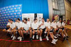 NBA Legends and behind them NBA coaches at Basketball Without Borders Europe for prospects under 17 with best coaches and some NBA legends on August 8, 2011, in Hala Tivoli, Ljubljana, Slovenia. (Photo by Matic Klansek Velej / Sportida)