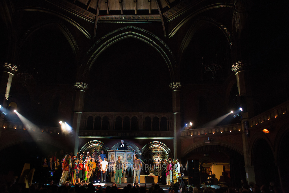 Lost in the Stars at the Union Chapel. <br /> <br /> The Highbury Opera Theatre is putting on  a fully-staged London premiere of Lost in the Stars, Kurt Weill's final 1949 musical, with words by Maxwell Anderson, based on Alan Paton&rsquo;s novel Cry, the Beloved Country. The show includes children from Gayhurst Community school in Hackney and schools from London Borough of Islington. The cast is led by South African operatic baritone Denver Martin-Smith and Zimbawean Lucky Moyo, who has toured the world as the lead voice of the popular a capella group Black Umfolozi. The large chorus is anchored by Eclectic Voices. The production is conducted by Scott Stroman and directored by Jean Lacornerie. <br /> <br /> The Highbury Opera Theatre is putting on  a fully-staged London premiere of Lost in the Stars, Kurt Weill's final 1949 musical, with words by Maxwell Anderson, based on Alan Paton&rsquo;s novel Cry, the Beloved Country. The show includes children from Gayhurst Community school in Hackney and schools from London Borough of Islington. The cast is led by South African operatic baritone Denver Martin-Smith and Zimbawean Lucky Moyo, who has toured the world as the lead voice of the popular a capella group Black Umfolozi. The large chorus is anchored by Eclectic Voices. The production is conducted by Scott Stroman and directored by Jean Lacornerie.