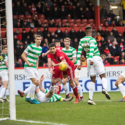 Aberdeen v Celtic, SPrem, 25th February 2018<br /> <br /> Aberdeen v Celtic, SPrem, 25th February 2018 &copy; Scott Cameron Baxter | SportPix.org.uk<br /> <br /> Anthony O'Connor comes close as Scott Brown clears his effort.