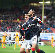 Dundee&rsquo;s Mark O&rsquo;Hara congratulates Marcus Haber after the Canadian striker rhad scored the fifth goal - Motherwell v Dundee in the Ladbrokes Scottish Premiership at Fir Park, Motherwell.Photo: David Young<br /> <br />  - &copy; David Young - www.davidyoungphoto.co.uk - email: davidyoungphoto@gmail.com