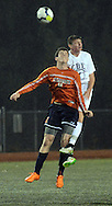 Hershey's Ryan LaCoe (left) and CB East's J.R. Eisold head the ball in the first half Tuesday November 10, 2015 in Doylestown, Pennsylvania.  (Photo by William Thomas Cain)
