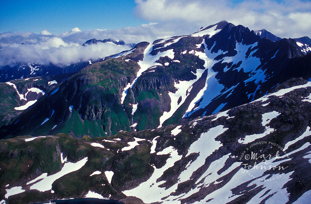 Aerial of the mountains of Baranof Island, SE Alaska