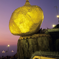 Kyaiktiyo Pagoda, Golden Rock, dusk with worshipers.