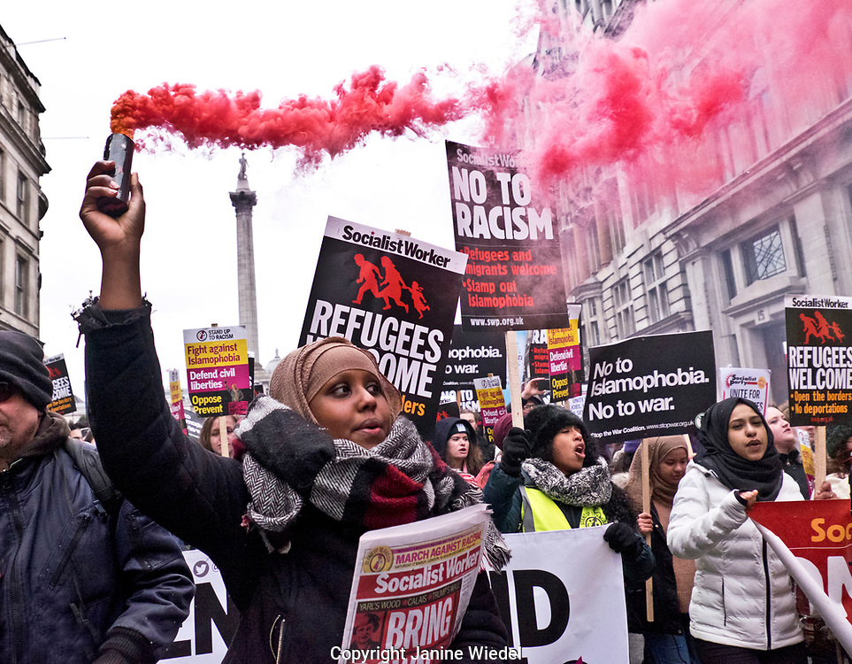 Refugees at Stand up against Racism, International demonstration in London to mark UN anti-racism day. March 17 2018