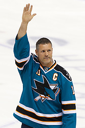Feb 8, 2012; San Jose, CA, USA; San Jose Sharks former captain Owen Nolan is honored before the game against the Calgary Flames at HP Pavilion. Calgary defeated San Jose 4-3. Mandatory Credit: Jason O. Watson-US PRESSWIRE
