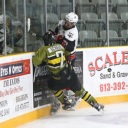 "TRENTON, ON  - MAY 4,  2017: Canadian Junior Hockey League, Central Canadian Jr. ""A"" Championship. The Dudley Hewitt Cup. Game 5 between Powassan Voodoos and the Georgetown Raiders.  Justin Schebel #2 of the Powassan Voodoos makes the hit on Jonathan Hampton #71 of the Georgetown Raiders during the third period.<br /> (Photo by Tim Bates / OJHL Images)"