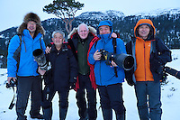 Wildlife watching an photography visitors/ecotourists from China, Mr Liu, Mr Chen Jianwei, Staffan Widstrand, Mr Xie Jianguo, and Mr Sun, Flatanger, Nord-Tröndelag, Norway
