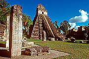 GUATEMALA, MAYAN, TIKAL 'Jaguar' Temple and the Great Plaza