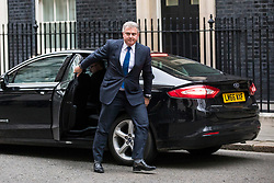 © Licensed to London News Pictures. 08/01/2018. London, UK. New Chairman of the Conservative Party Brandon Lewis arrives on Downing Street as Prime Minister Theresa May reshuffles the Cabinet. Photo credit: Rob Pinney/LNP