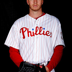 February 22, 2011; Clearwater, FL, USA; Philadelphia Phillies starting pitcher Roy Halladay (34) poses during photo day at Bright House Networks Field. Mandatory Credit: Derick E. Hingle