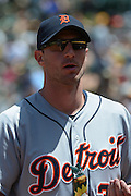 May 29, 2014; Oakland, CA, USA; Detroit Tigers starting pitcher Max Scherzer (37) looks on during the third inning against the Oakland Athletics at O.co Coliseum. The Tigers defeated the Athletics 5-4.