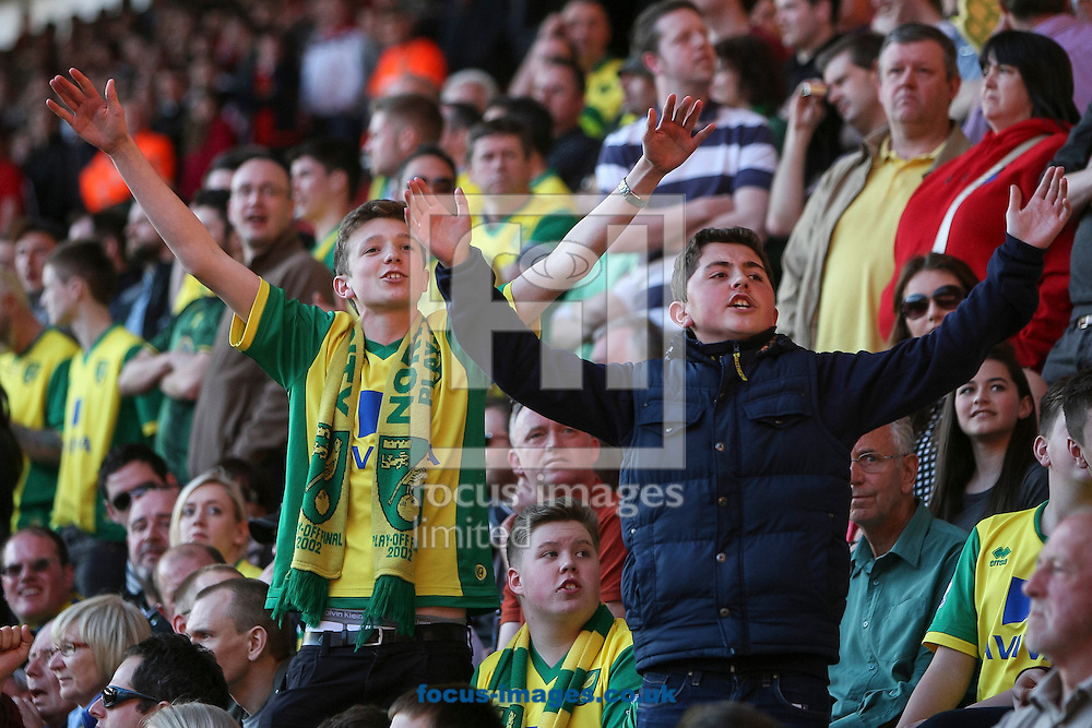 Young Norwich City fans during the Barclays Premier League match at the St Mary's Stadium, Southampton<br /> Picture by Daniel Chesterton/Focus Images Ltd +44 7966 018899<br /> 15/03/2014