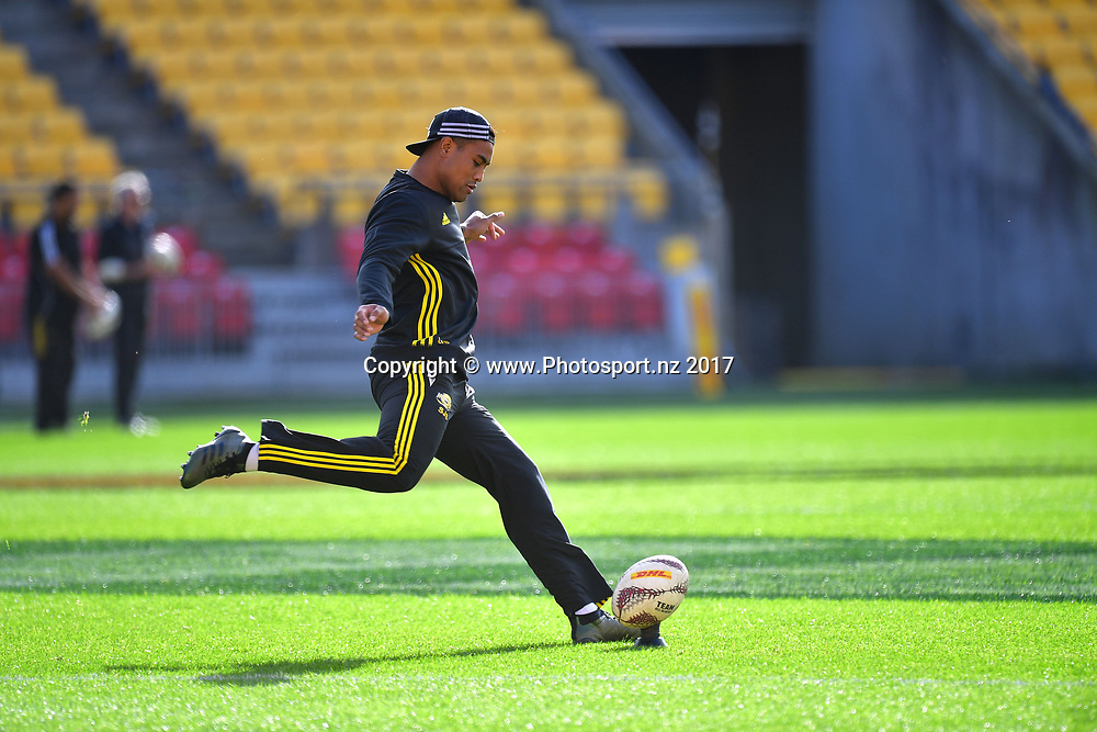 Hurricanes Julian Savea kicks a ball during the Hurricanes captains run at Westpac Stadium in Wellington on Friday the 26th of June 2017. Copyright Photo by Marty Melville / www.Photosport.nz