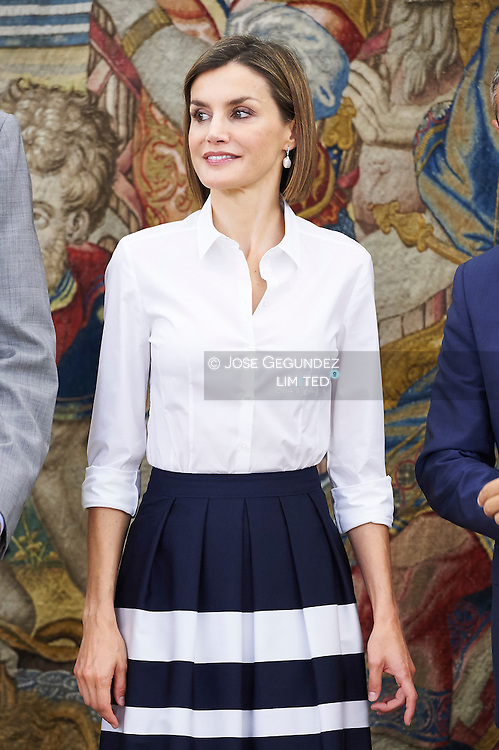 Queen Letizia of Spain attend an audience to Adecco Foundation Board at Palacio de la Zarzuela on September 2, 2015 in Madrid