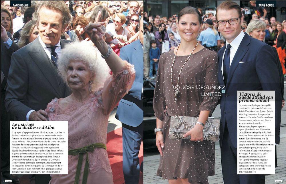 Duchess of Alba and Alfonso Diez wedding at Palacio de Duenas in Seville<br /> Royaute Magazine. num 11. January 2012