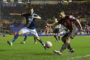 Birmingham City defender Jonathan Spector attempts to stop Bournemouth midfielder Marc Pugh cross during the The FA Cup third round match between Birmingham City and Bournemouth at St Andrews, Birmingham, England on 9 January 2016. Photo by Alan Franklin.