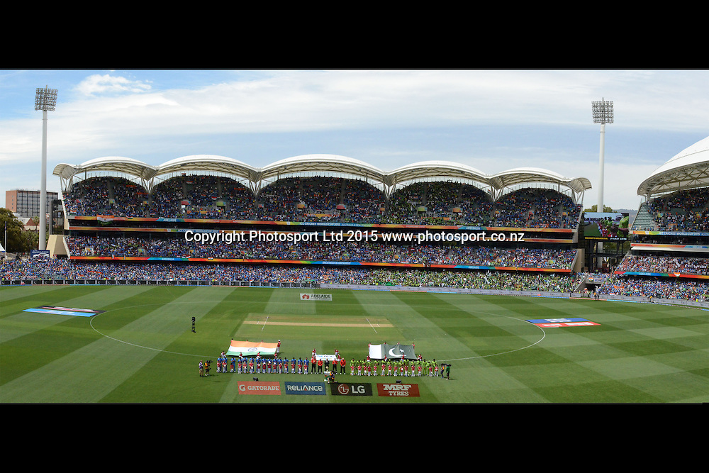 General View of the Adelaide Oval when teams' national anthem were being played during the ICC Cricket World Cup match between India and Pakistan at Adelaide Oval in Adelaide, Australia. Sunday 15 February 2015. Copyright Photo: Raghavan Venugopal / www.photosport.co.nz