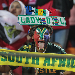 06 July 2019, Egypt, Cairo: A supporter of South Africa cheers in the stands prior to the start of the 2019 Africa Cup of Nations round of 16 soccer match between Egypt and South Africa at Cairo International Stadium. Photo: Oliver Weiken/dpa