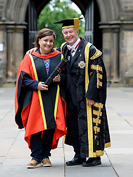 Pictured: Comedian Susan Calman with her father and University Chancellor Sir Kenneth Calman after getting her honorary degree from the University of Glasgow.<br /> <br /> <br /> © Dave Johnston / EEm