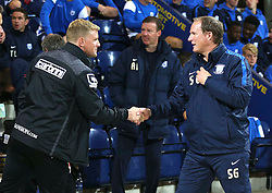 Bournemouth Manager, Eddie Howe shakes hands with Preston North End Manager, Simon Grayson - Mandatory byline: Matt McNulty/JMP - 07966386802 - 22/09/2015 - FOOTBALL - Deepdale Stadium -Preston,England - Preston North End v Bournemouth - Capital One Cup - Third Round