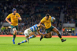 October 8, 2016 - London, United Kingdom - Australia's Samu Kerevii (13) avoids Argentinian tacklers to score a try during the rugby union test match between Argentian Pumas and Australian Wallabies. Australia won the first match 33-21 at Twickenham Stadium  in London, United Kingdom (Credit Image: © Hugh Peterswald/Pacific Press via ZUMA Wire)
