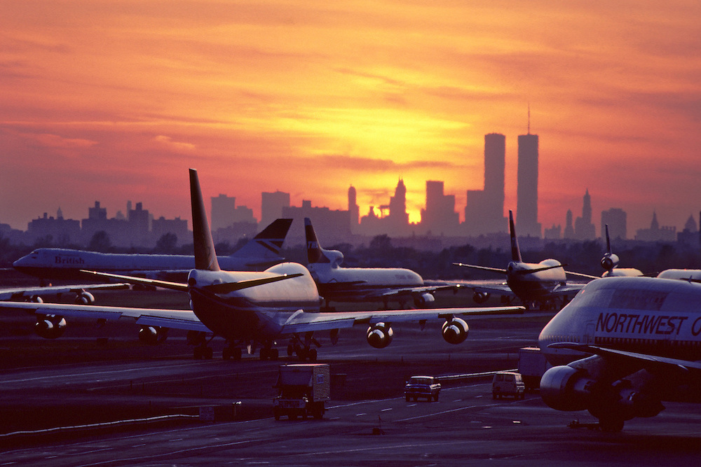 John F. Kennedy International Airport, Airplane Queue Line, Airplane Taxiing, Queens, New York City, New York, USA