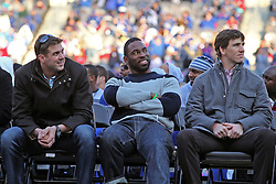 Feb 7, 2012; East Rutherford, NJ, USA; (l to r) Zak DeOssie, Justin Tuck, and Eli Manning during the New York Giants Super Bowl XLVI Rally at MetLife Stadium.