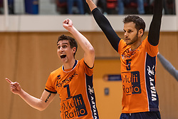14-04-2019 NED: Achterhoek Orion - Draisma Dynamo, Doetinchem<br /> Orion win the fourth set and play the final round against Lycurgus. Dynamo won 2-3 / Pim Kamps #7 of Orion, Shalev Saada #5 of Orion