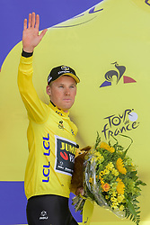 July 7, 2019 - Bruxelles, Belgium - BRUSSELS, BELGIUM - JULY 7 : TEUNISSEN Mike (NED) of TEAM JUMBO - VISMA pictured during the podium ceremony in the yellow jersey after stage 2 of the 106th edition of the 2019 Tour de France cycling race, a team time trial of 27,6 kms with start and finish in Brussels on July 07, 2019 in Brussels, Belgium, 7/07/2019 ( Motordriver Kenny Verfaillie - Photo by Nico Vereecken / Photo News. (Credit Image: © Panoramic via ZUMA Press)